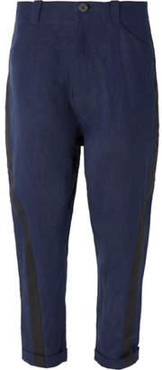 Isabel Benenato Wide-Leg Cropped Grosgrain-Trimmed Linen Trousers