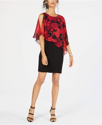 Connected Floral Cold-Shoulder Cape Dress