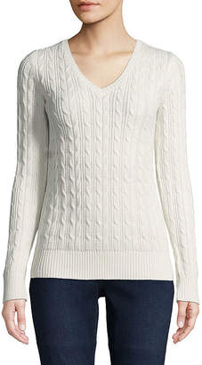 ST. JOHN'S BAY Long Sleeve Cable V-neck Sweater - Tall