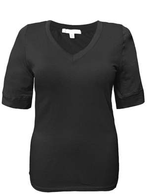 Couture Zumie Junior Plus Size Elbow Sleeve V-Neck Cotton T-Shirt Top by Active Basic 2XL