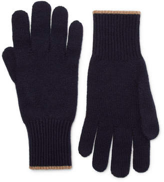 Brunello Cucinelli Contrast-Tipped Cashmere Gloves - Navy