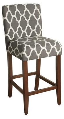 "HomePop Geo Brights Warm Gray Upholstered Barstool 29"" bar height"