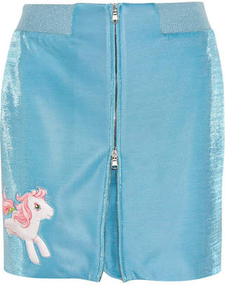 Moschino - My Little Pony Appliquéd Lurex Mini Skirt - Blue