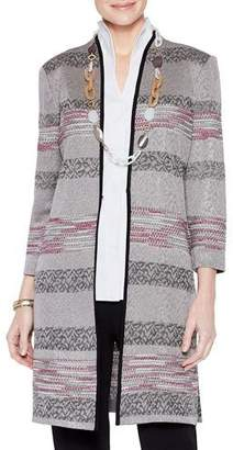 Misook Plus Size Intarsia Knit Pattern Duster Jacket