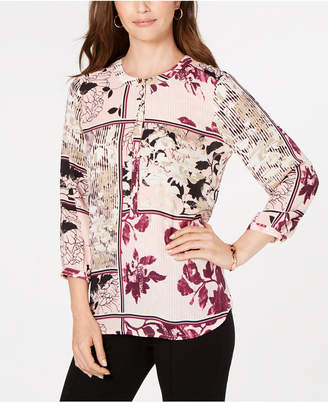 JM Collection Printed Pleat-Back Top