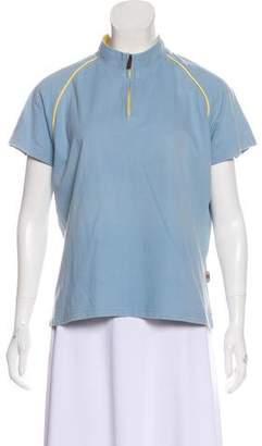 Burberry Zip-Up Short Sleeve Top
