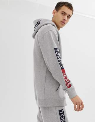 38a2be86 Tommy Jeans regular fit full zip hoodie with essential sleeve graphics in  light grey