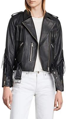 AllSaints Balfern Tassel Leather Biker Jacket, Black