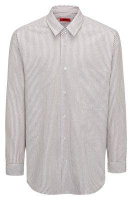 HUGO Boss Runway Edition Linen Cotton Sport Shirt, Oversized Fit Erilio L Light Beige