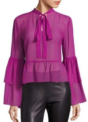 Saks Fifth Avenue Collection Bell-Sleeve Silk Peplum Blouse