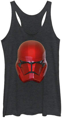 Star Wars Women Rise of Skywalker Red Sith Trooper Big Face Helmet Racerback Tank Top