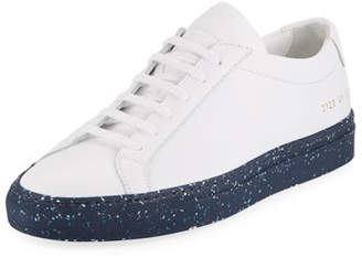 Common Projects Men's Achilles Leather Low-Top Sneakers with Confetti Sole