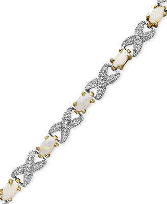 Townsend Victoria 18k Gold over Sterling Silver Bracelet, Opal (2 ct. t.w.) and Diamond Accent Bracelet