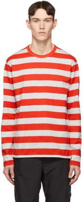 240ef782a8 Junya Watanabe Grey and Red Horizontal Stripe T-Shirt