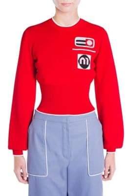 Miu Miu Patch Ribbed Pullover