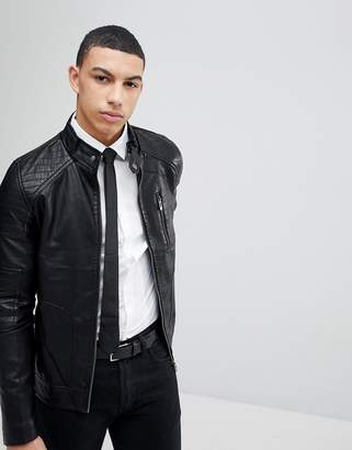 Soul Star Ribbed Arm Faux Leather Zip Through Jacket