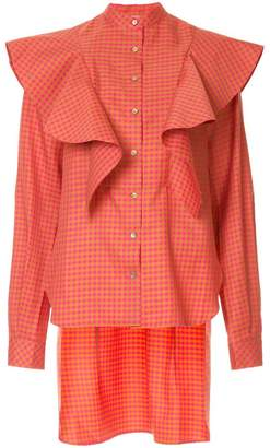 Irene gingham-print ruffled shirt