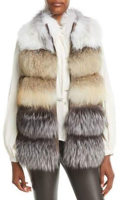 Gorski Feathered Fox Fur Vest