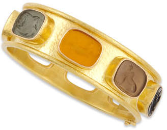 Elizabeth Locke Antique Animals Intaglio 19k Gold Bangle, Neutral/Multicolor