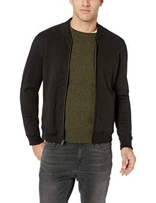 Billy Reid Men's Full Zip Dover Bomber Jacket with Leather Elbow Patches