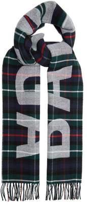 Balenciaga - Tartan Logo Print Wool Scarf - Mens - Green