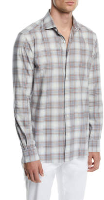 Ermenegildo Zegna Men's Large Plaid Sport Shirt