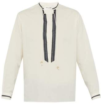 Saint Laurent Lace Up Cotton Blend Shirt - Mens - Cream