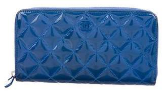 Chanel Quilted Patent Zip-Around Wallet