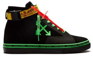 Off-White Off White Logo Belt Strap High Top Suede Skate Trainers - Mens - Black