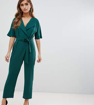 87bbbf944fa Asos DESIGN Petite wrap jumpsuit with self belt