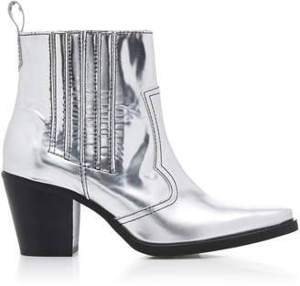 Ganni Western Metallic Leather Ankle Boots