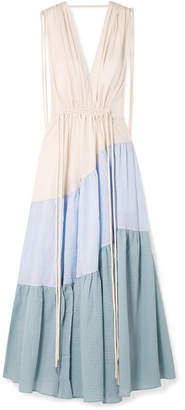 Lee Mathews - Lilian Tiered Cotton-seersucker Maxi Dress - Blue