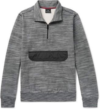 Paul Smith Slim-Fit Shell-Trimmed Space-Dyed Cotton-Fleece Half-Zip Sweatshirt - Men - Gray