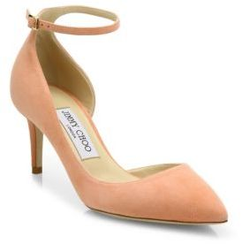 Jimmy Choo Lucy 65 Suede d'Orsay Ankle-Strap Pumps $695 thestylecure.com