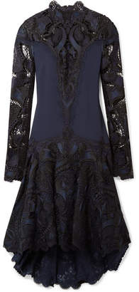 Jonathan Simkhai Asymmetric Crepe And Guipure Lace Dress - Midnight blue