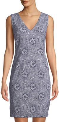 Karl Lagerfeld Paris V-Neck Floral Jacquard Dress