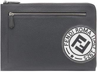Fendi logo patch zipped pouch