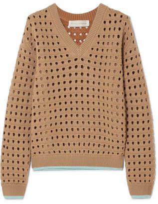 Victoria Beckham - Open-knit Wool-blend Sweater - Beige