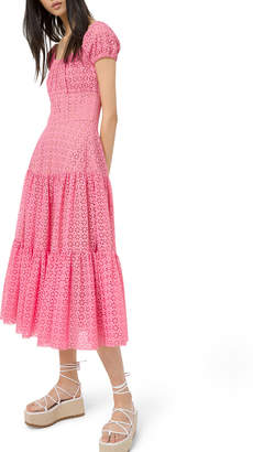 Michael Kors Tiered-Cotton Eyelet Embroidered Cap-Sleeve Dress