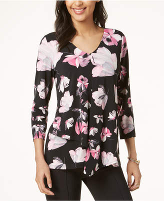 Alfani Petite Floral-Print Asymmetrical Top, Created for Macy's