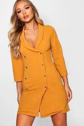boohoo Double Breasted Gold Button Blazer Dress