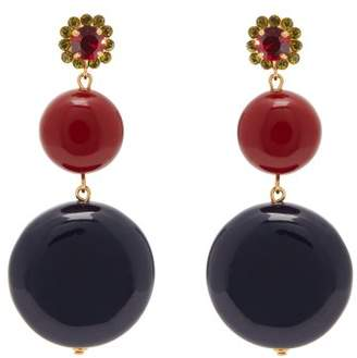 Marni Circle Drop Crystal Embellished Earrings - Womens - Black