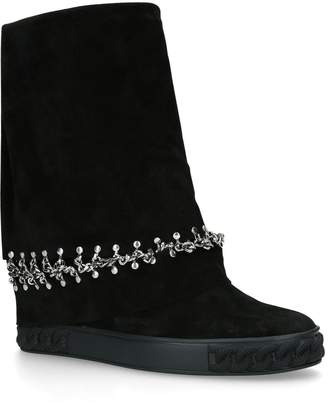 Casadei Fold-Over Suede Boots