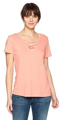 Michael Stars Women's Supima Cotton slub Short Sleeve v-Neck with lace up