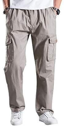 Mesinsefra Men's Full Elastic Waist Cargo Pants Light Grey 2XL