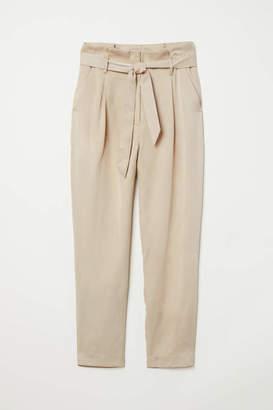 H&M Lyocell Paper-bag Pants - Beige - Women
