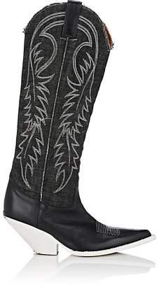 Women's Denim & Leather Cowboy Boots