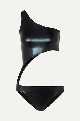 Norma Kamali Shane One-shoulder Cutout Metallic Swimsuit - Midnight blue