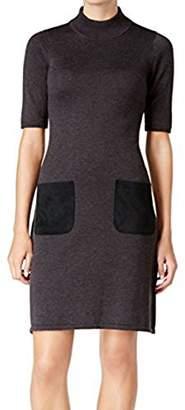 Calvin Klein Women's Short Sleeve Crew Neck Sweater Dress with Suede Parch Pockets