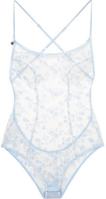 Agent Provocateur Zadi Satin-trimmed Embroidered Tulle Bodysuit - Sky blue